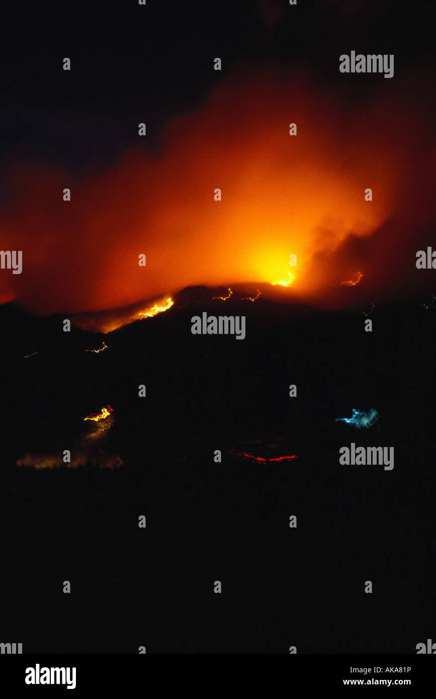 France, Corsica, fires at night Stock Photo