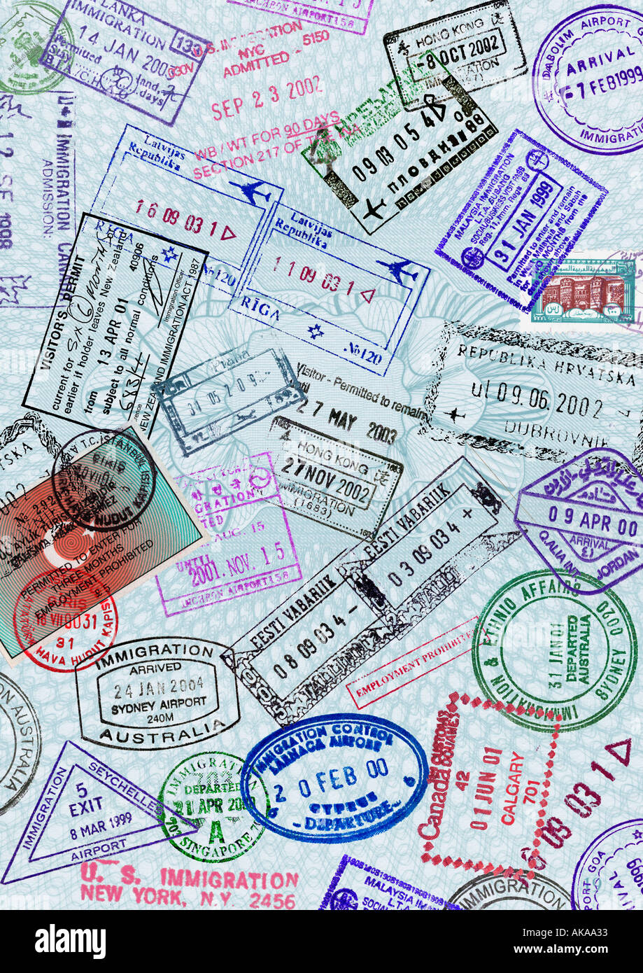 Passport Page Travel Immigration Visa stamp Montage - Stock Image