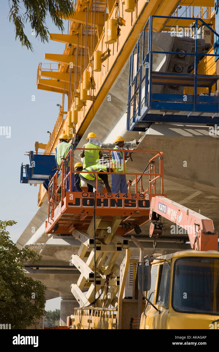 Elevated viaducts on the unfinished Dubai Metro rapid transit rail network railway under construction.   Advanced - Stock Image