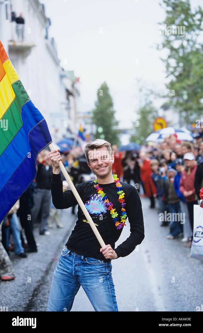 Gay pride festival in Reykjavik - Stock Image