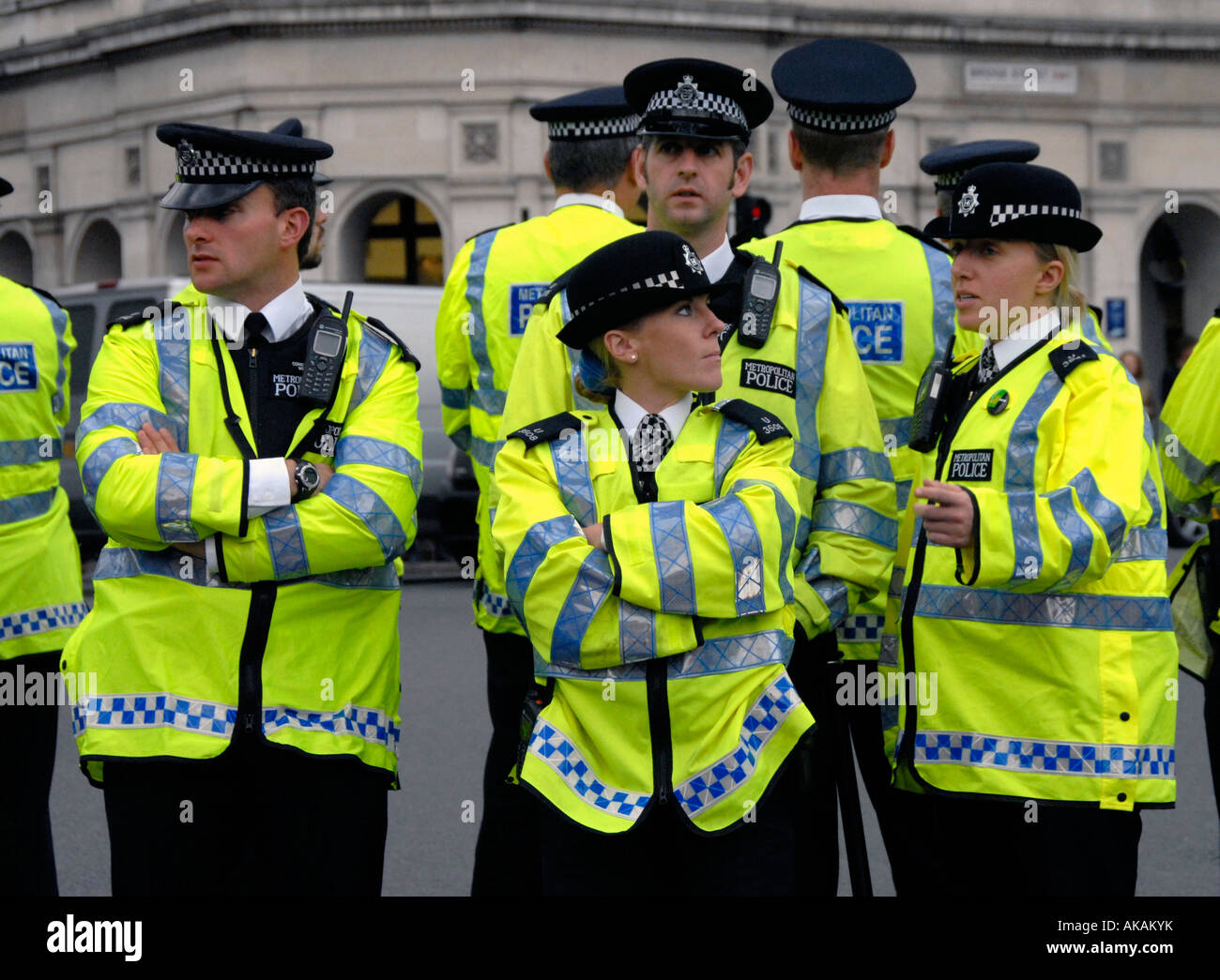 Mixed group of police men & women in London. Stock Photo
