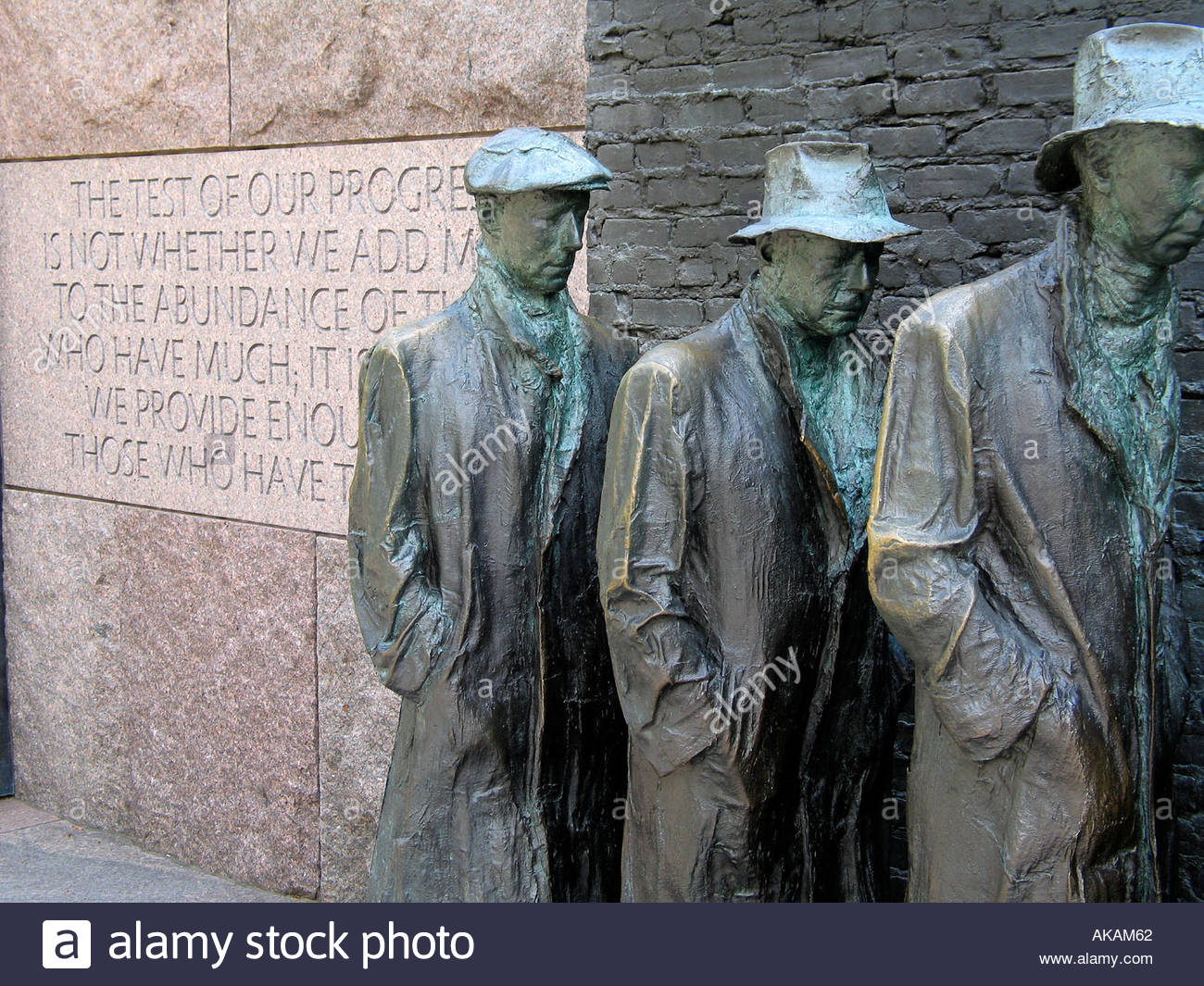 Part of bread line statue at FDR Memorial in Washington DC - Stock Image