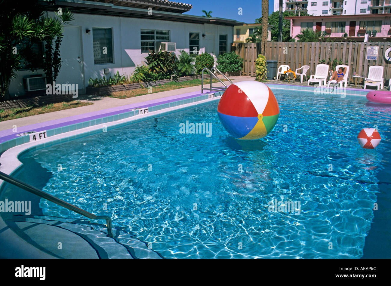Beach Ball In Pool On Colourful Beach Balls Floating In Swimming Pool At The Beach Ball Motel Fort Lauderdale Florida Usa