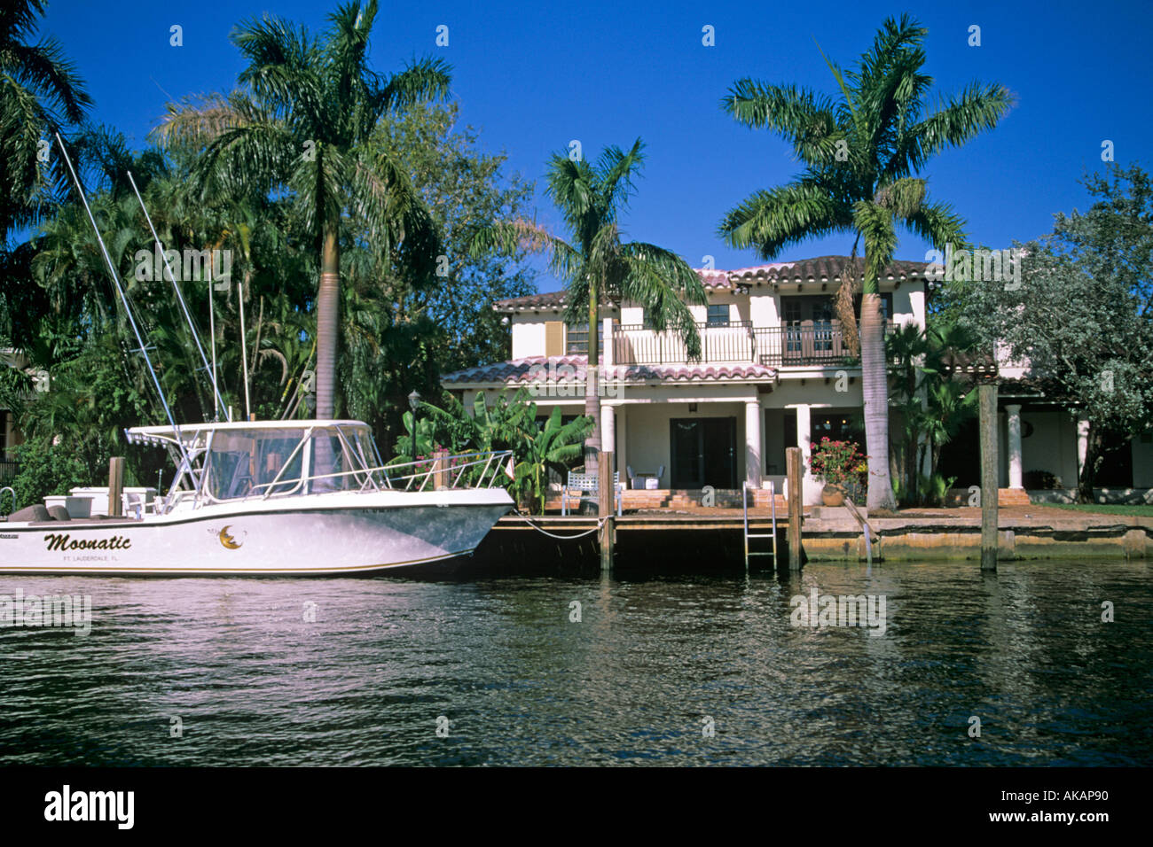 Luxury Homes With Yacht Moored In Inter Coastal Waterway Fort Lauderdale  Florida USA