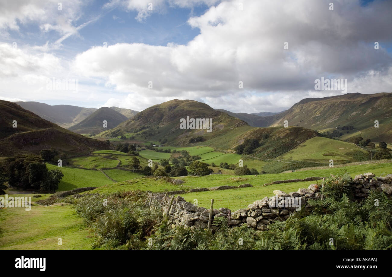 Vew of Martindale and Boardale from Hallin Fell southern slopes Lake District National Park Cumbria Stock Photo