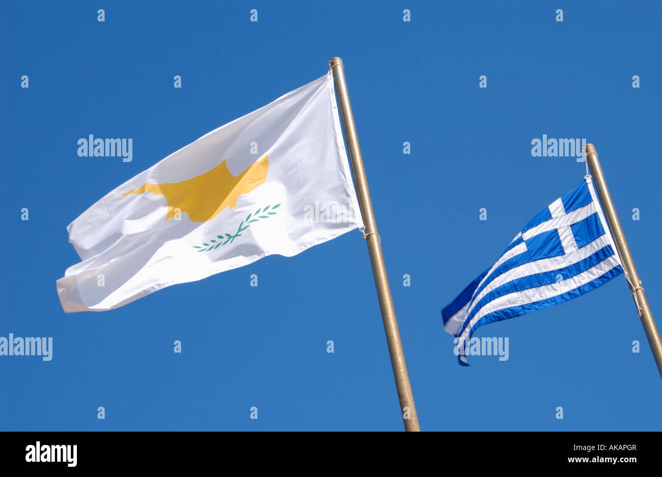 Cypriot and Greek flag on the Mediterranean island of Cyprus EU - Stock Image