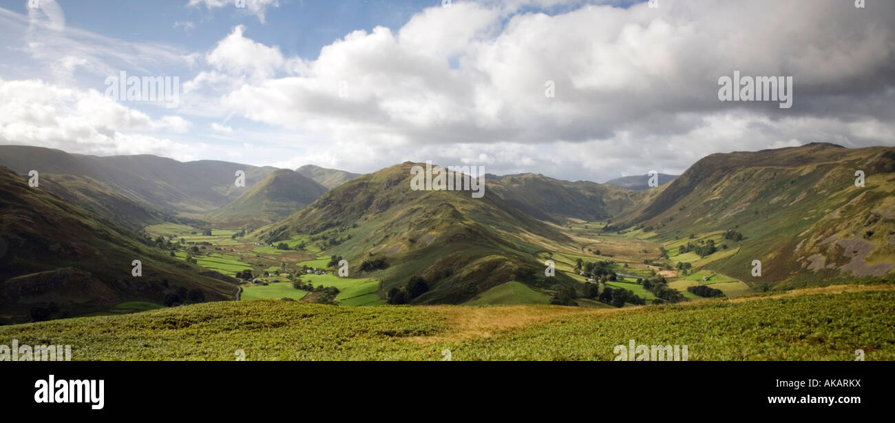 Vew of Martindale and Boardale from Hallin Fells southern slopes Lake District National Park Cumbria Stock Photo