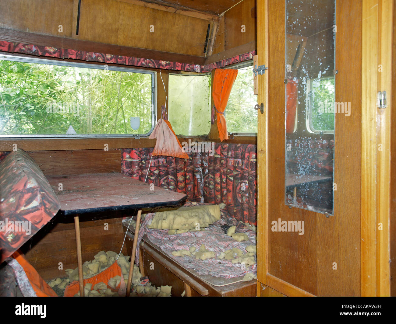 interior view of an old damaged caravan - Stock Image