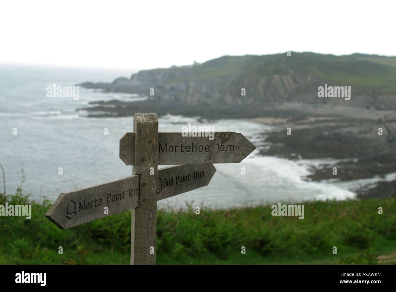 South West Coast Path signage between Woolacombe and Illfracombe on the North Devon coast near Morthoe - Stock Image