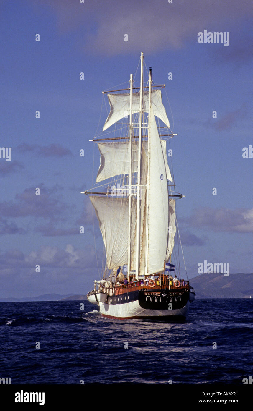 Square rigged sailing vessel - Stock Image