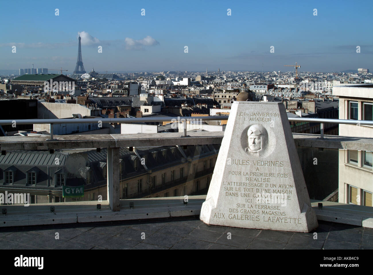 Paris exterior galeries lafayette store rooftop public viewing area memorial to aviator jules vedrines who landed plane on roof