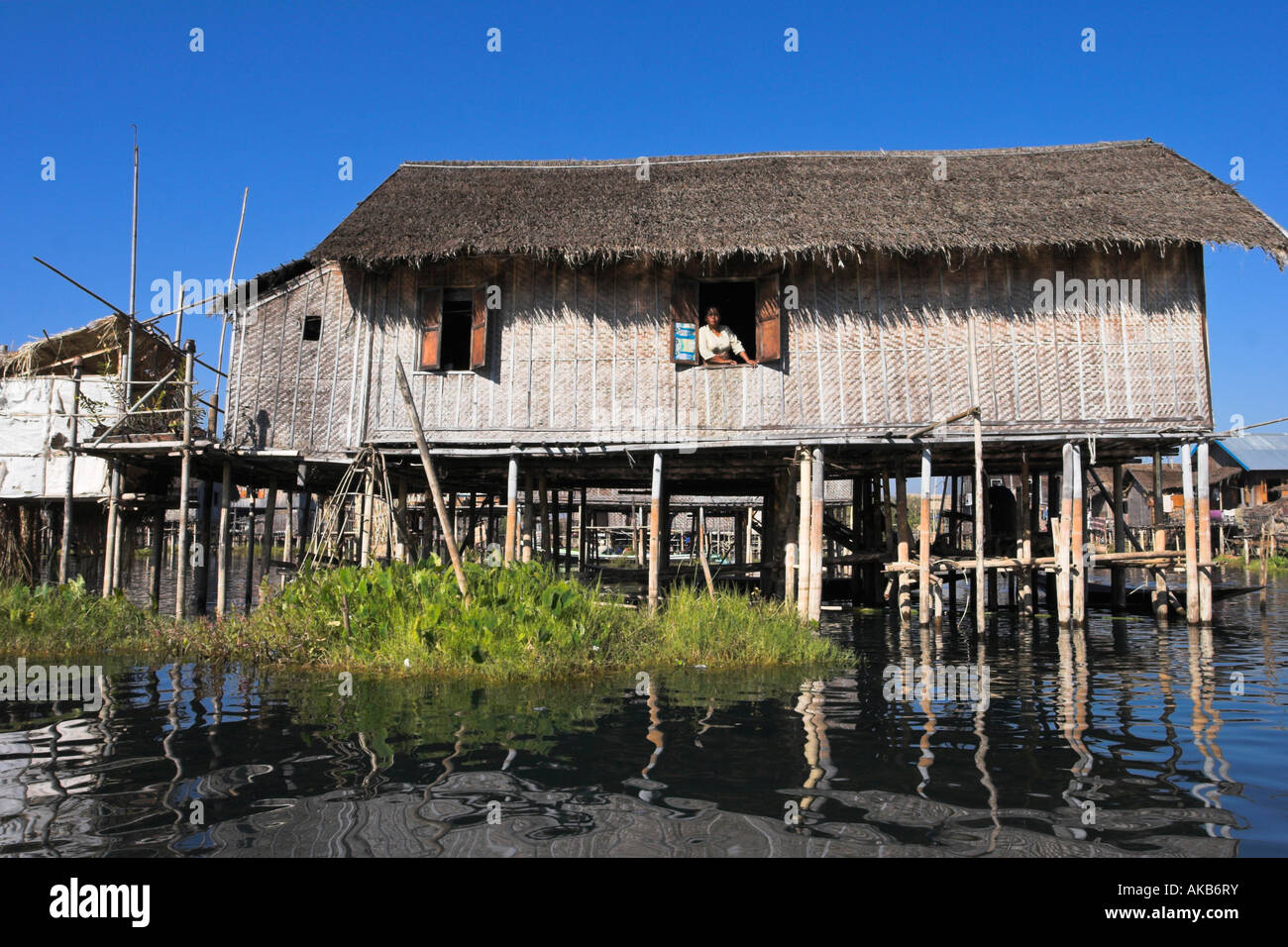 Myanmar (Burma), Shan State, Inle Lake, house on stilts in floating village Stock Photo