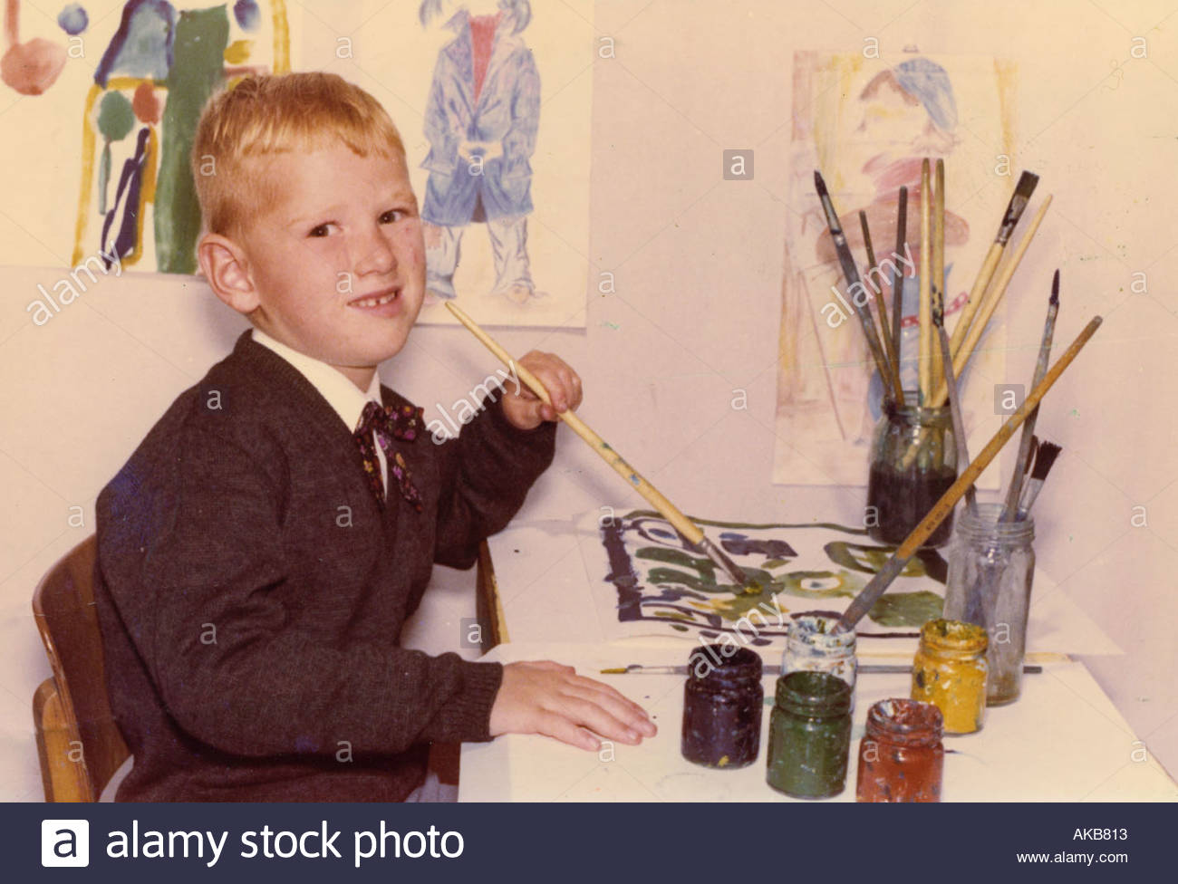 A child posing for school portrait - Stock Image
