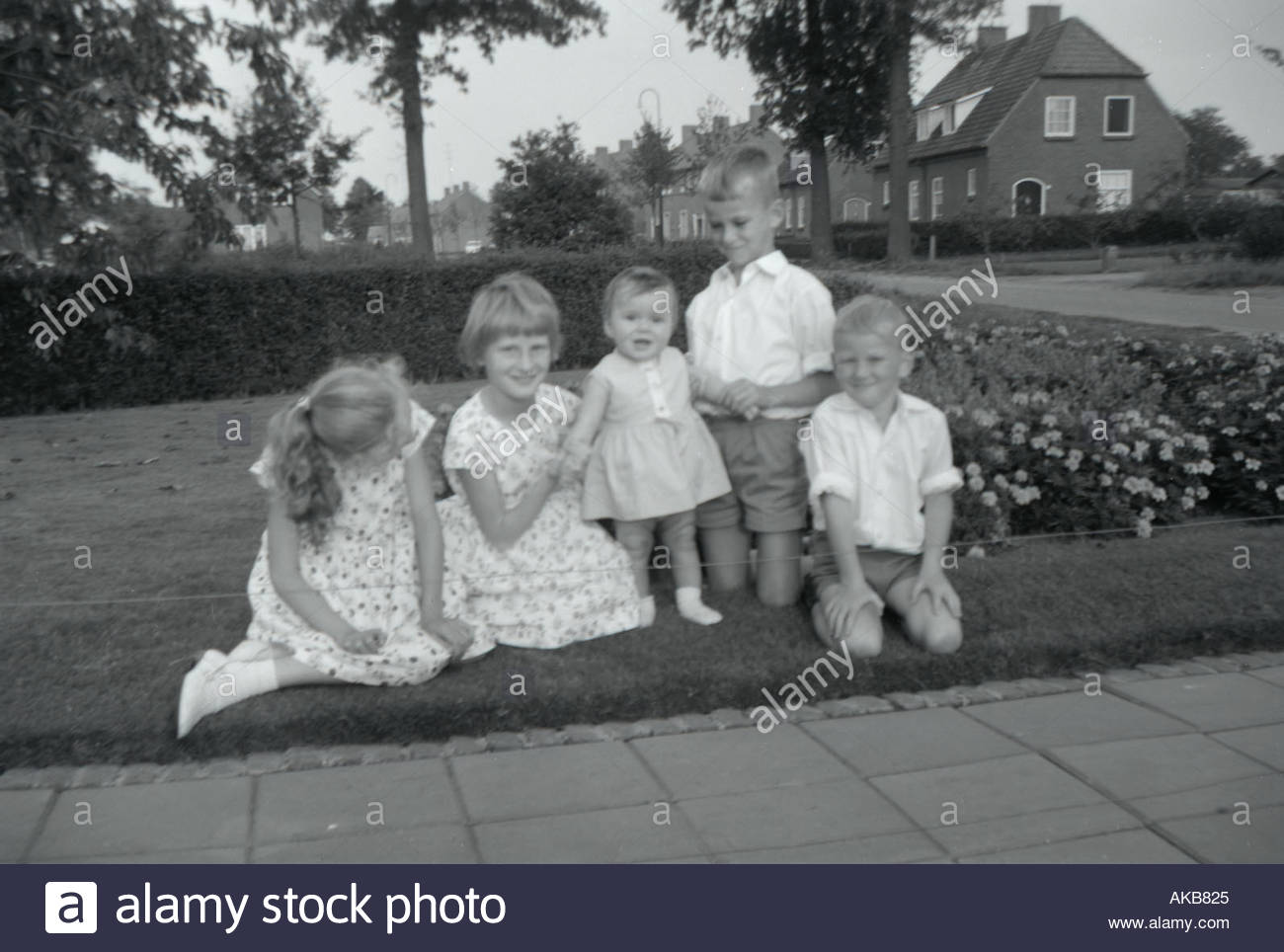 Girls and boys posing for a family picture 1960 s - Stock Image