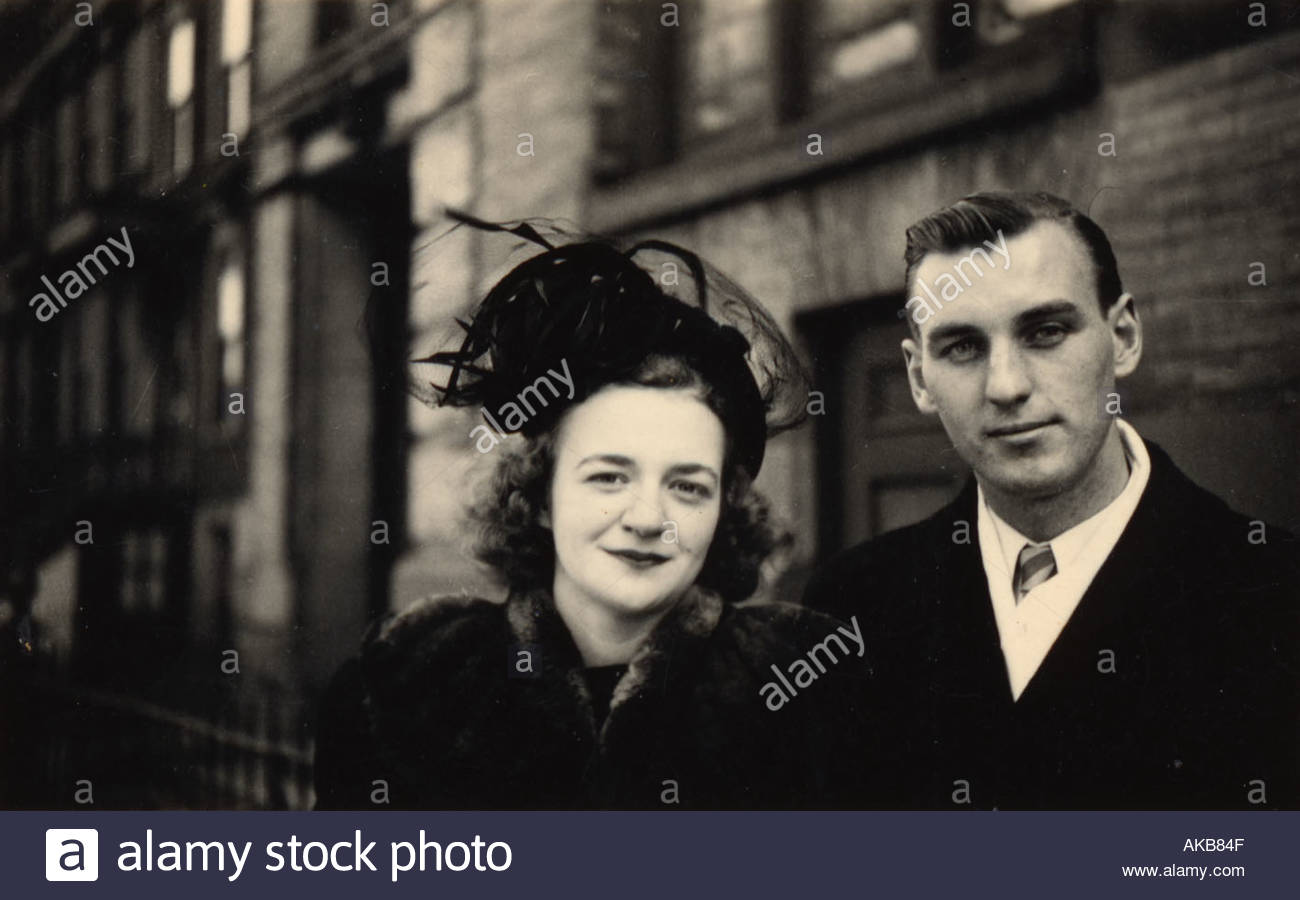 vintage photograph of happy couple - Stock Image