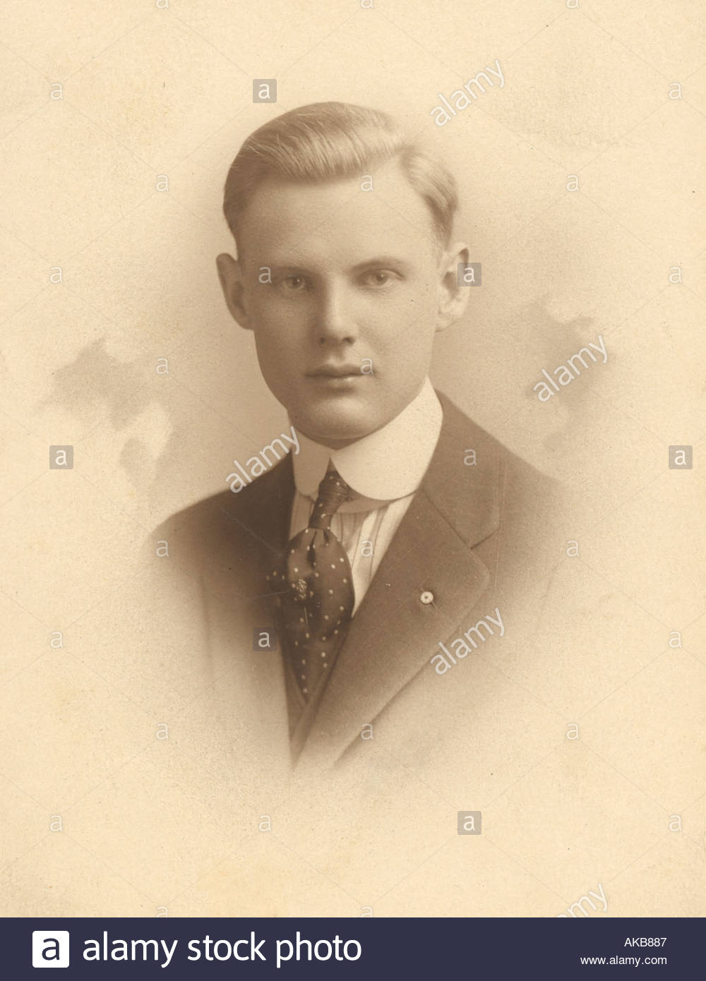 vintage photograph of a young man - Stock Image