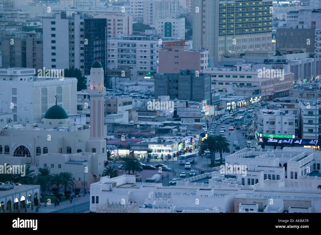 Qatar, Doha, Aerial View of Ali bin Abdullah Street - Stock Image