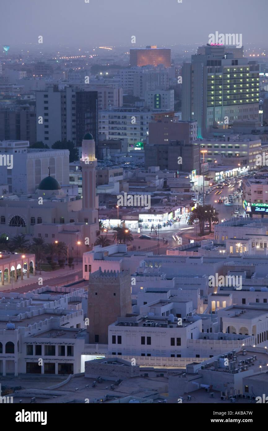 Qatar, Doha, Aerial View of Ali bin Abdullah Stree - Stock Image