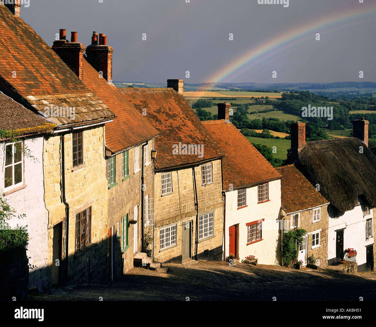 GB - DORSET: Gold Hill at Shaftesbury - Stock Image