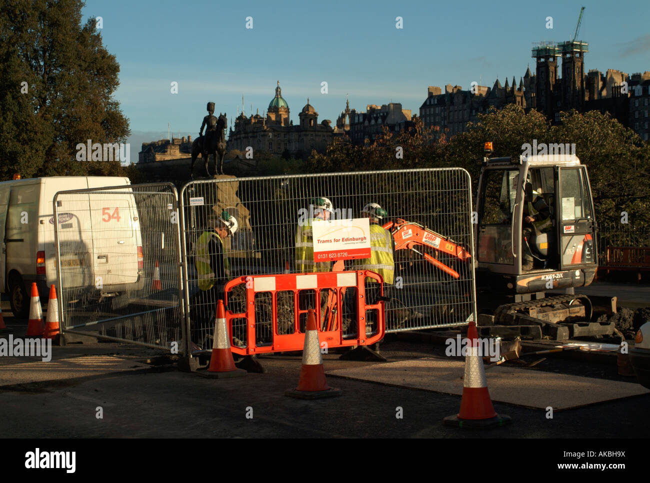Digging up Princes Street as part of the initial work for the Edinburgh tram project. - Stock Image