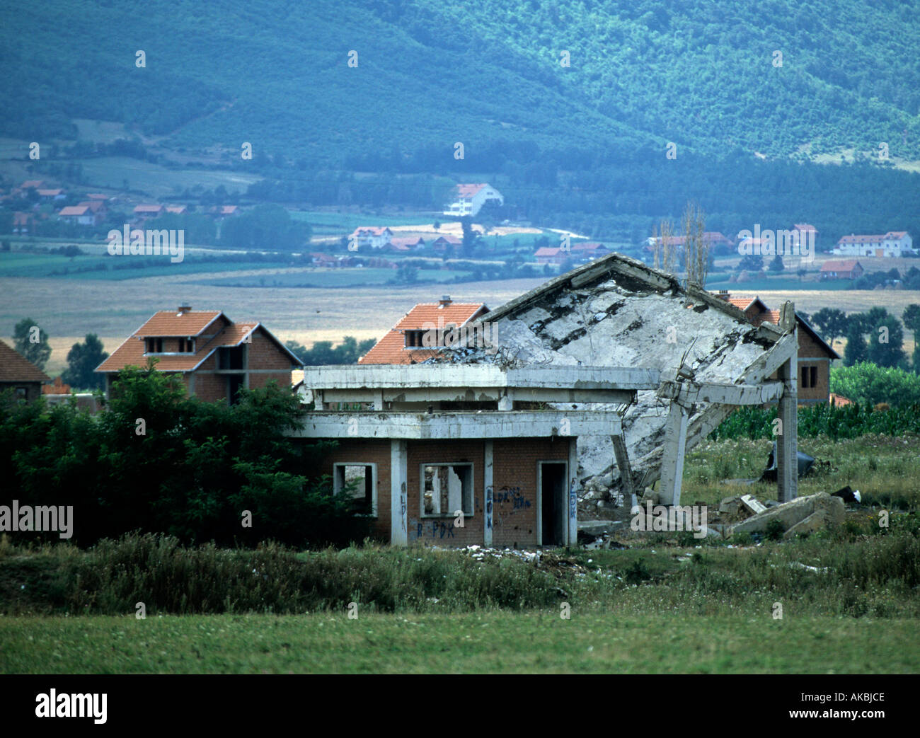 A view at a destroyed village in Kosovo Stock Photo