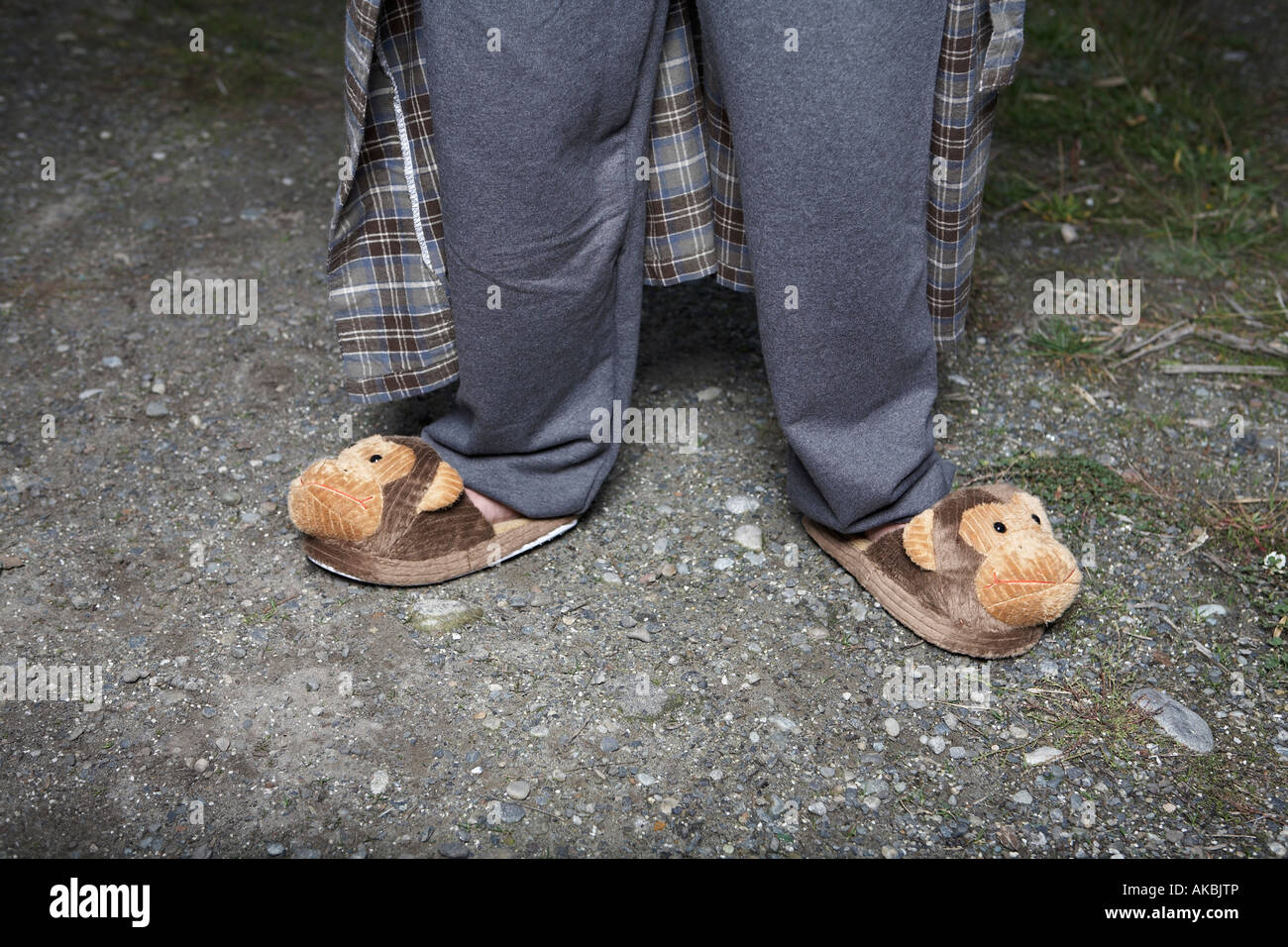 Man wearing monkey slippers on gravel road - Stock Image