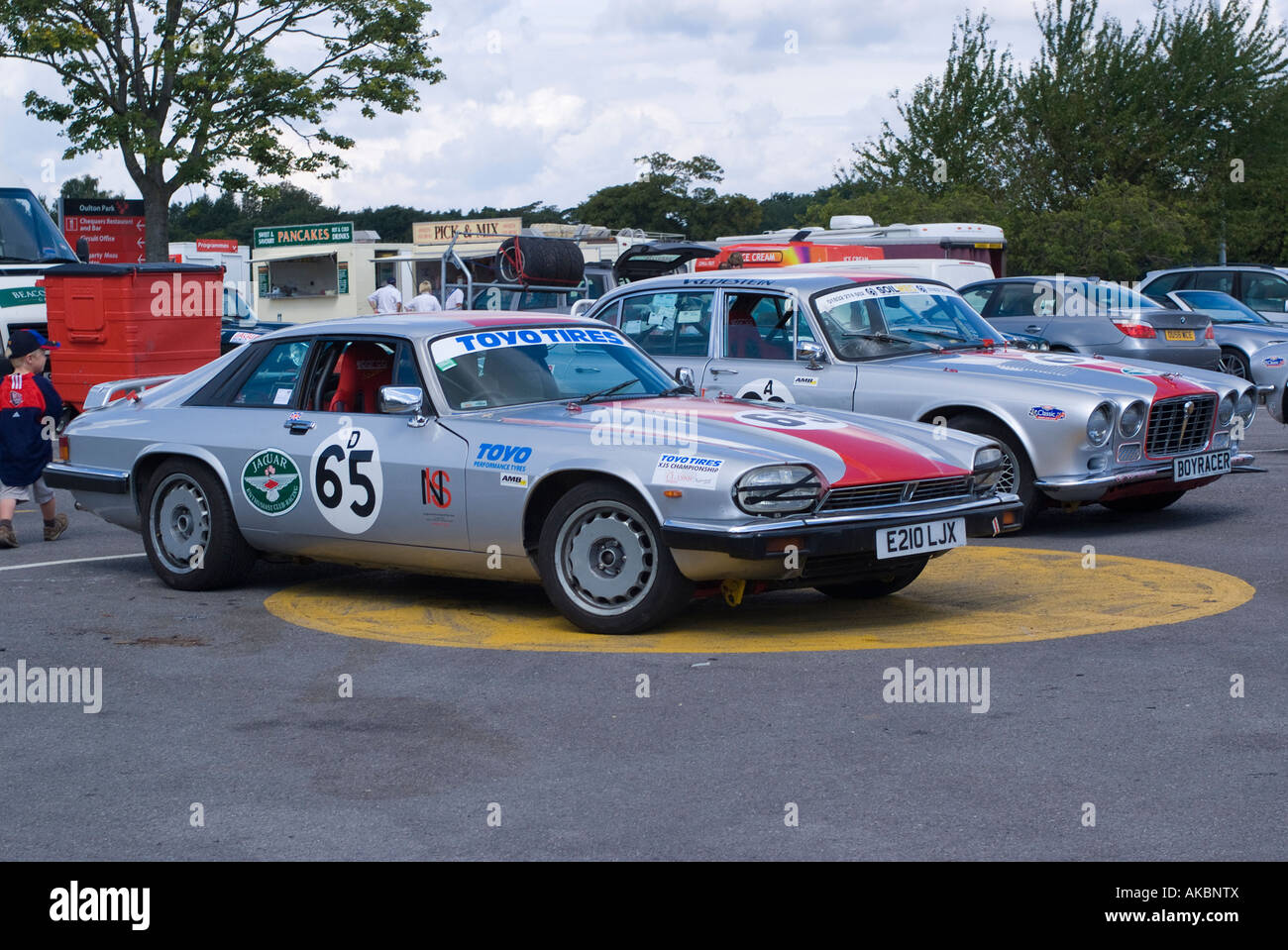 S Type and XJ6 Jaguar Saloon Racing Cars in Paddock at Oulton Park Motor Racing Circuit Cheshire United Kingdom Stock Photo