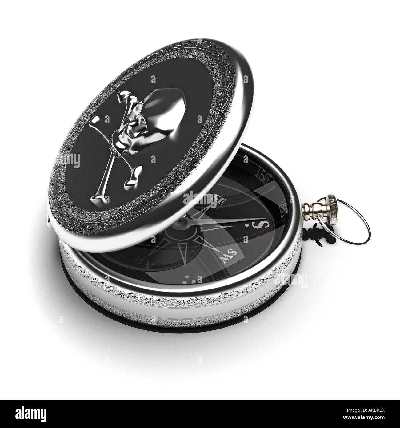 A beautiful silver Pirate's compass. - Stock Image