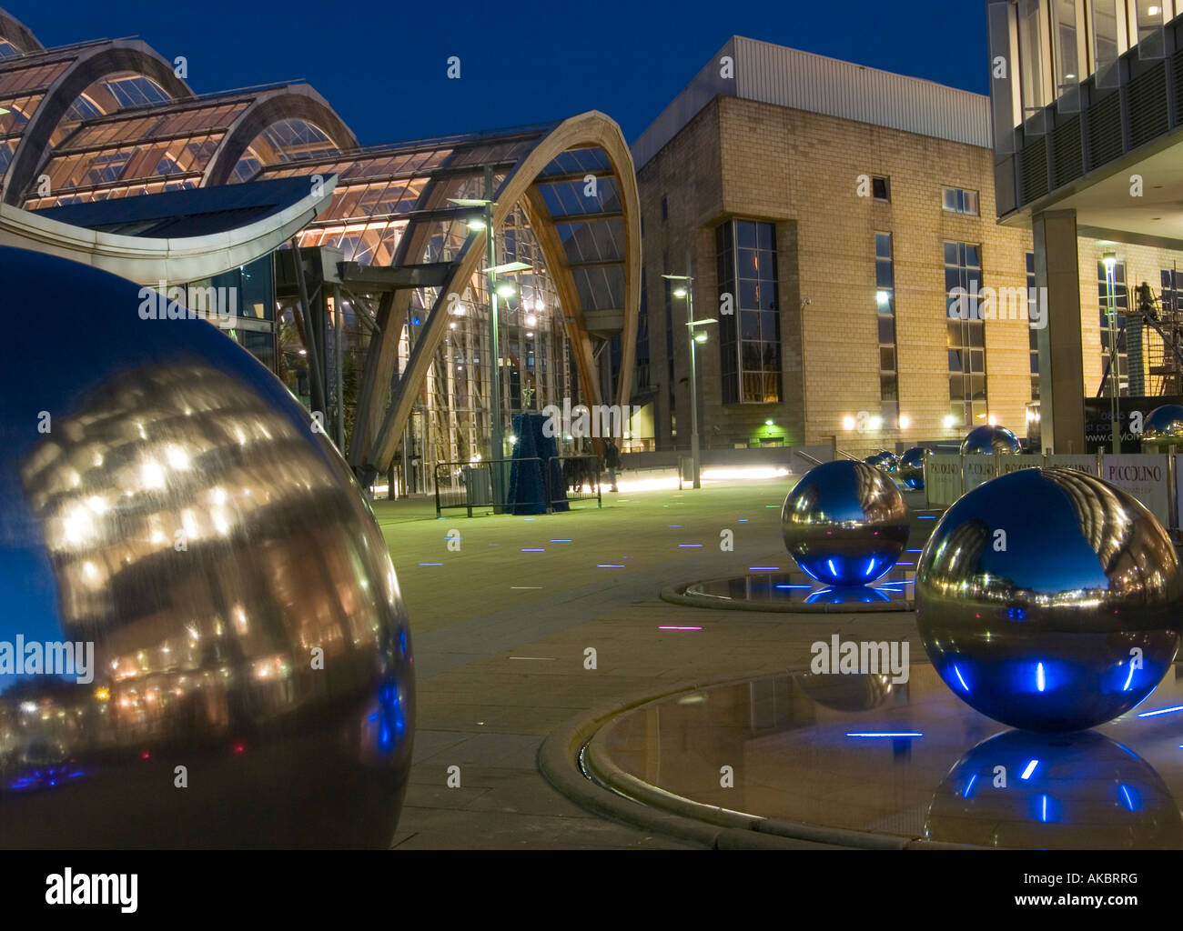 The Winter Garden And Millenium Square At Dusk With Spheres That