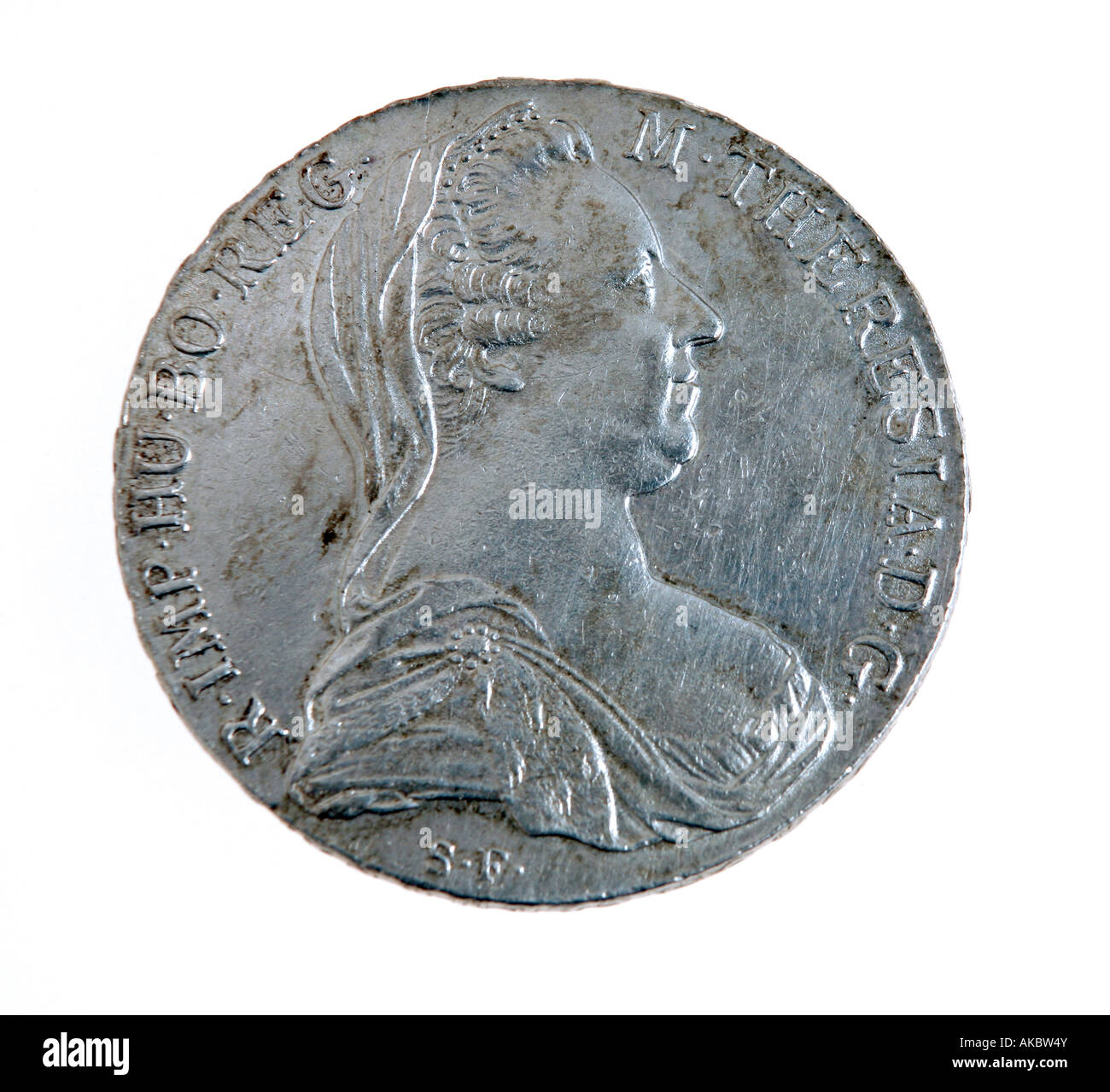 A Maria Theresia silver thaler - the coin from which the dollar got its name. - Stock Image