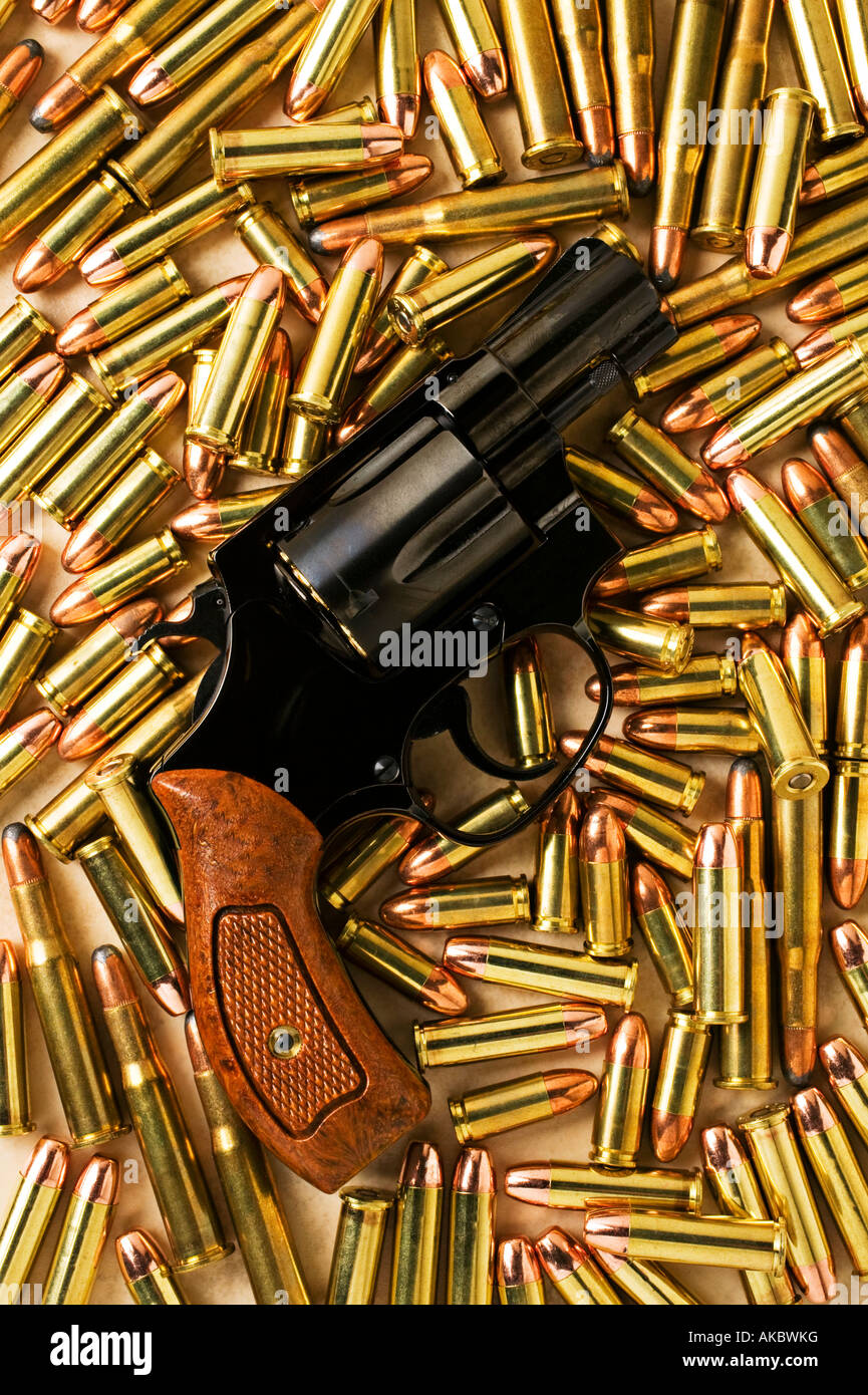 Handgun 38 special with assorted bullets - Stock Image