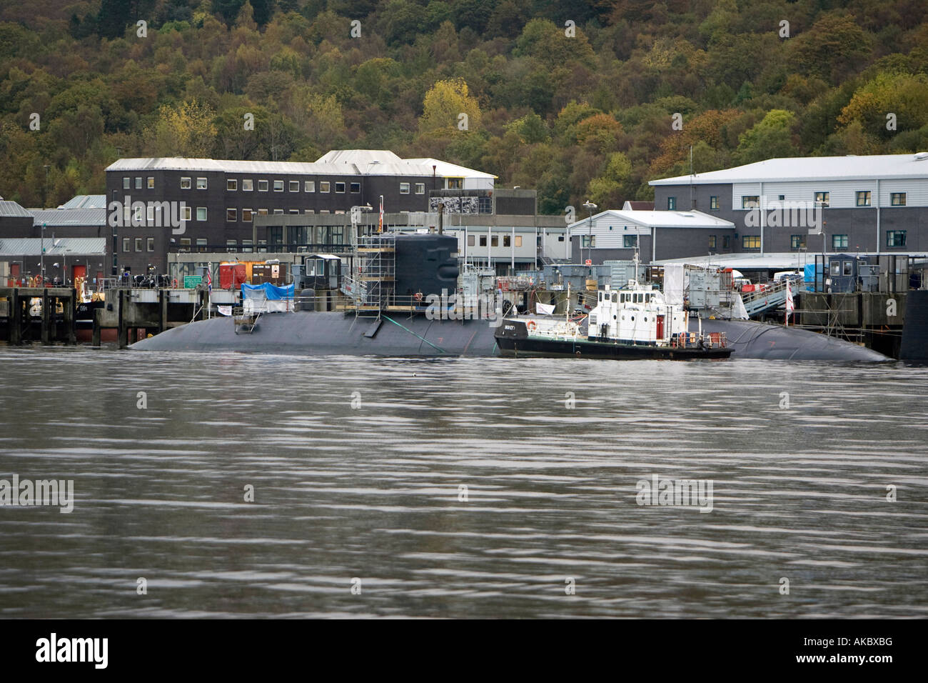 A decommissioned British Navy Nuclear Submarine at Faslane Navel Submarine Base in Gare Loch, Scotland, UK - Stock Image