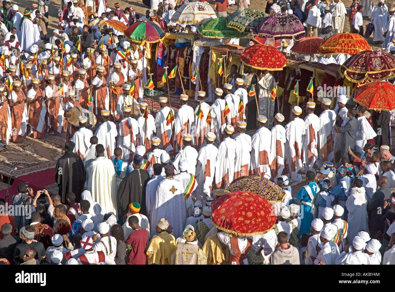 Debterras (Choir members) of the Ethiopian Orthodox Church perform sacred dance at 'Timkat' (Epiphany) celebrations, - Stock Image