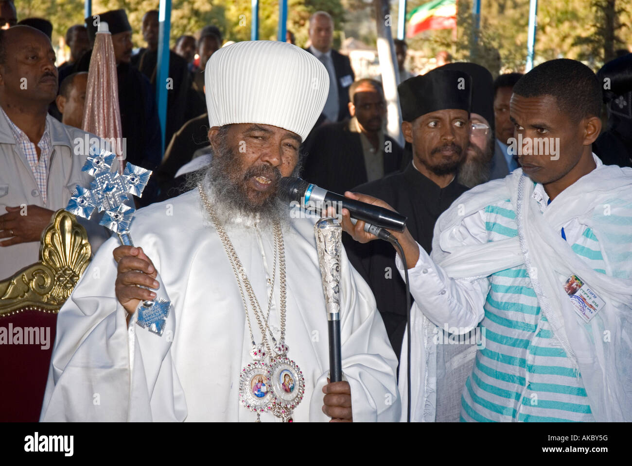 Ethiopian Orthodox Patriarch being interviewed during Timkat (Epiphany) celebrations, Addis Abeba, Ethiopia - Stock Image