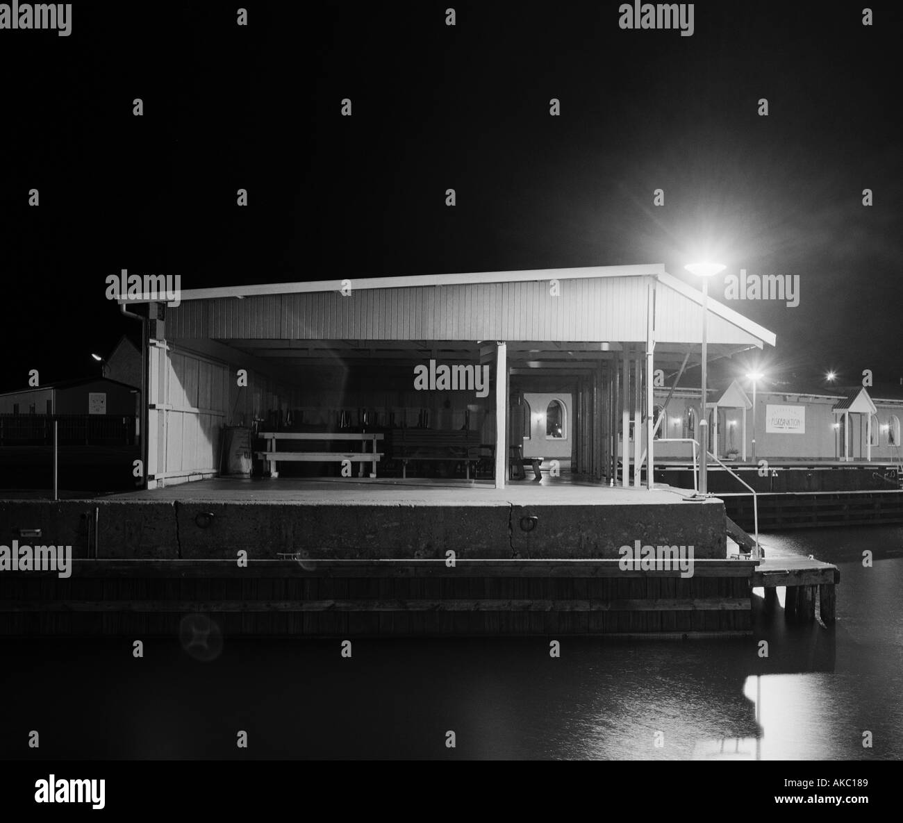 shelter in harbour at night Hundested Denmark - Stock Image