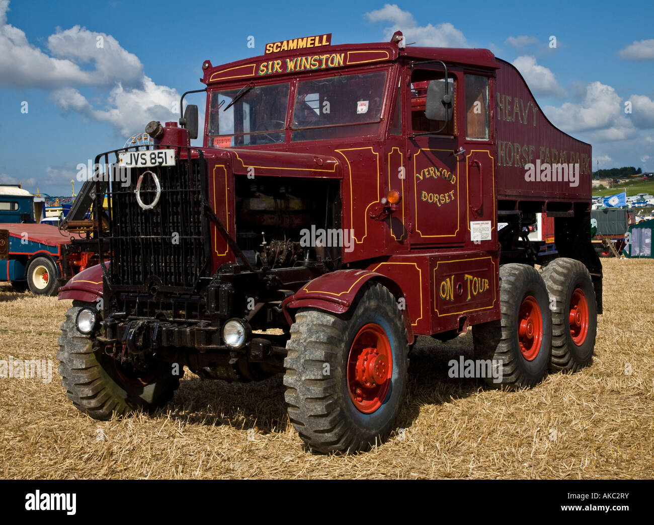 1951 Scammell Explorer showman's truck, Sir Winston, Reg No. JVS 851, at the Great Dorset Steam Fair, England, - Stock Image