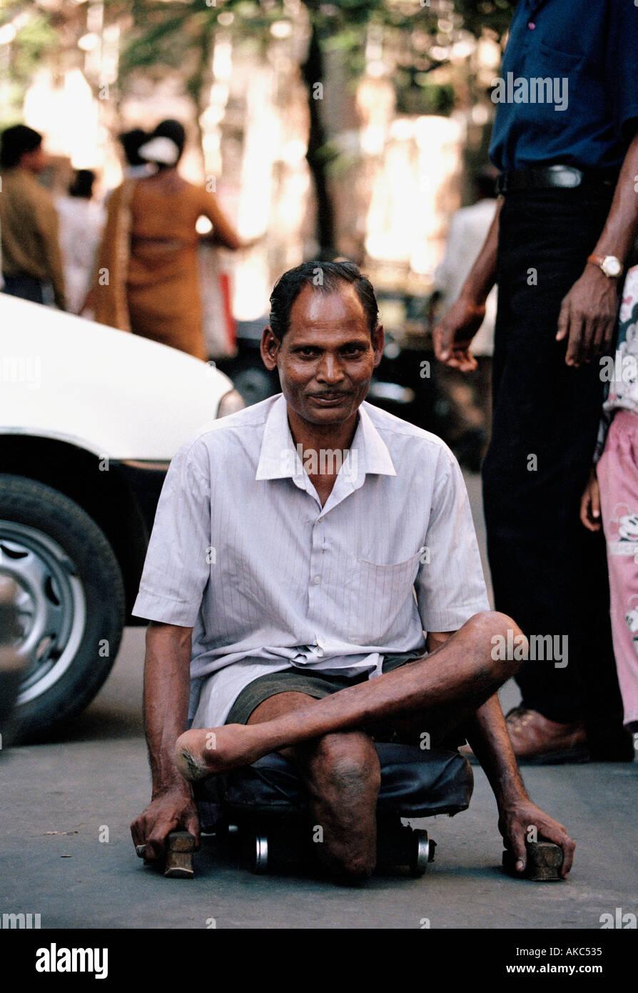 a leper in Bombay Mumbai india - Stock Image
