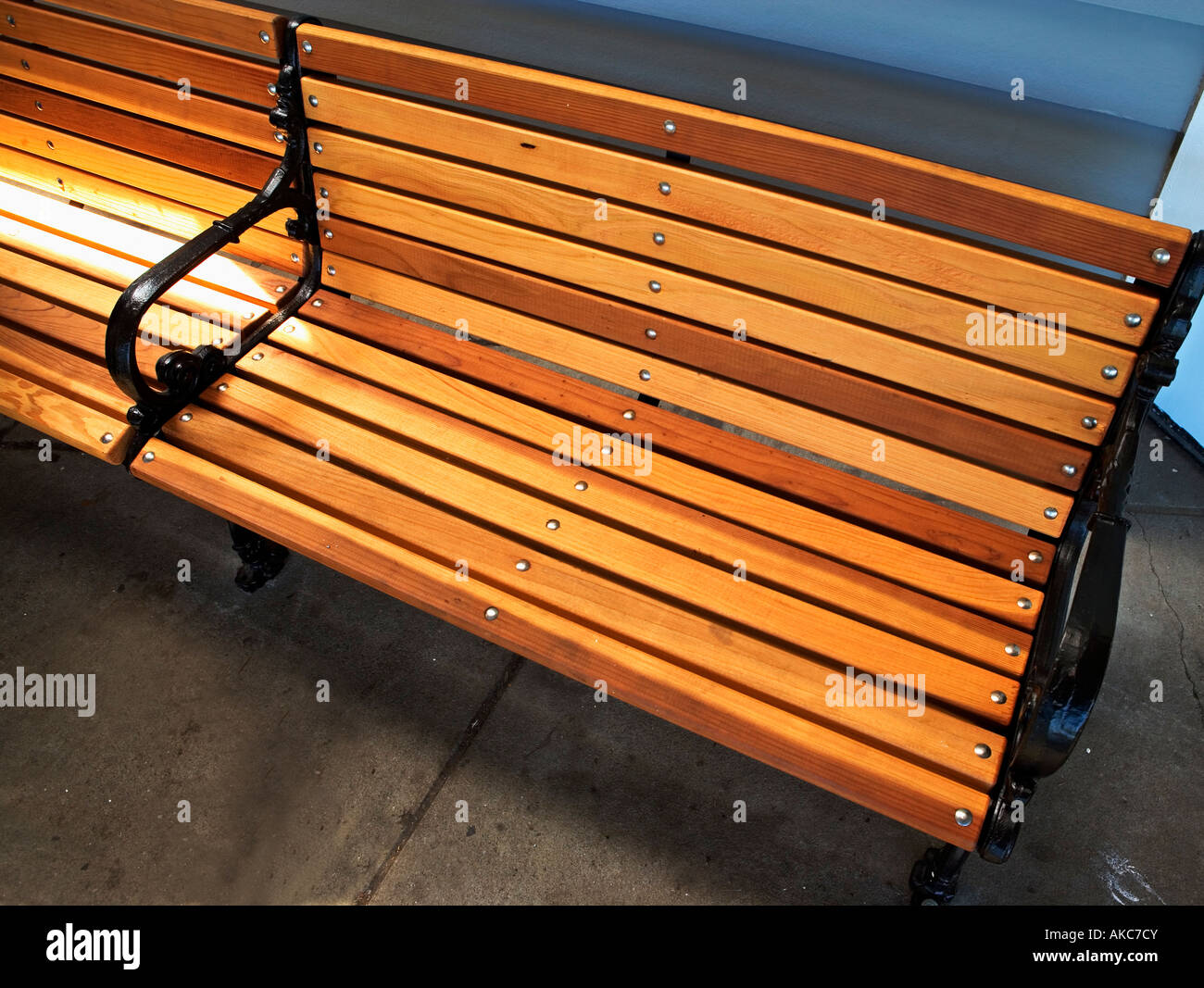 Bench Park Bench Slats Wooden Wood Seating Seat Stock Photo