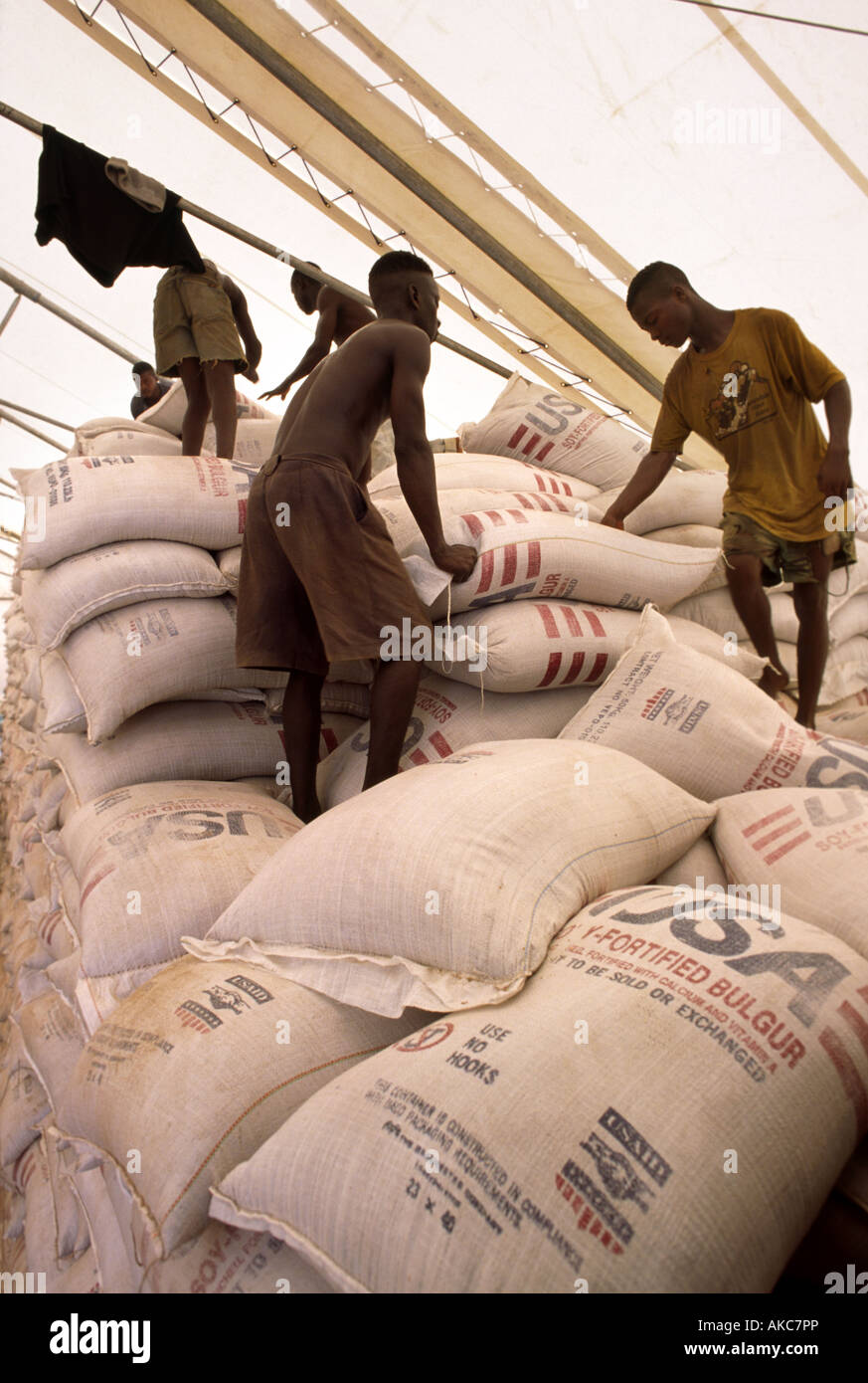 Local workers stack sacks of bulgar wheat in a United Nations aid warehouse in Zwedru Liberia - Stock Image