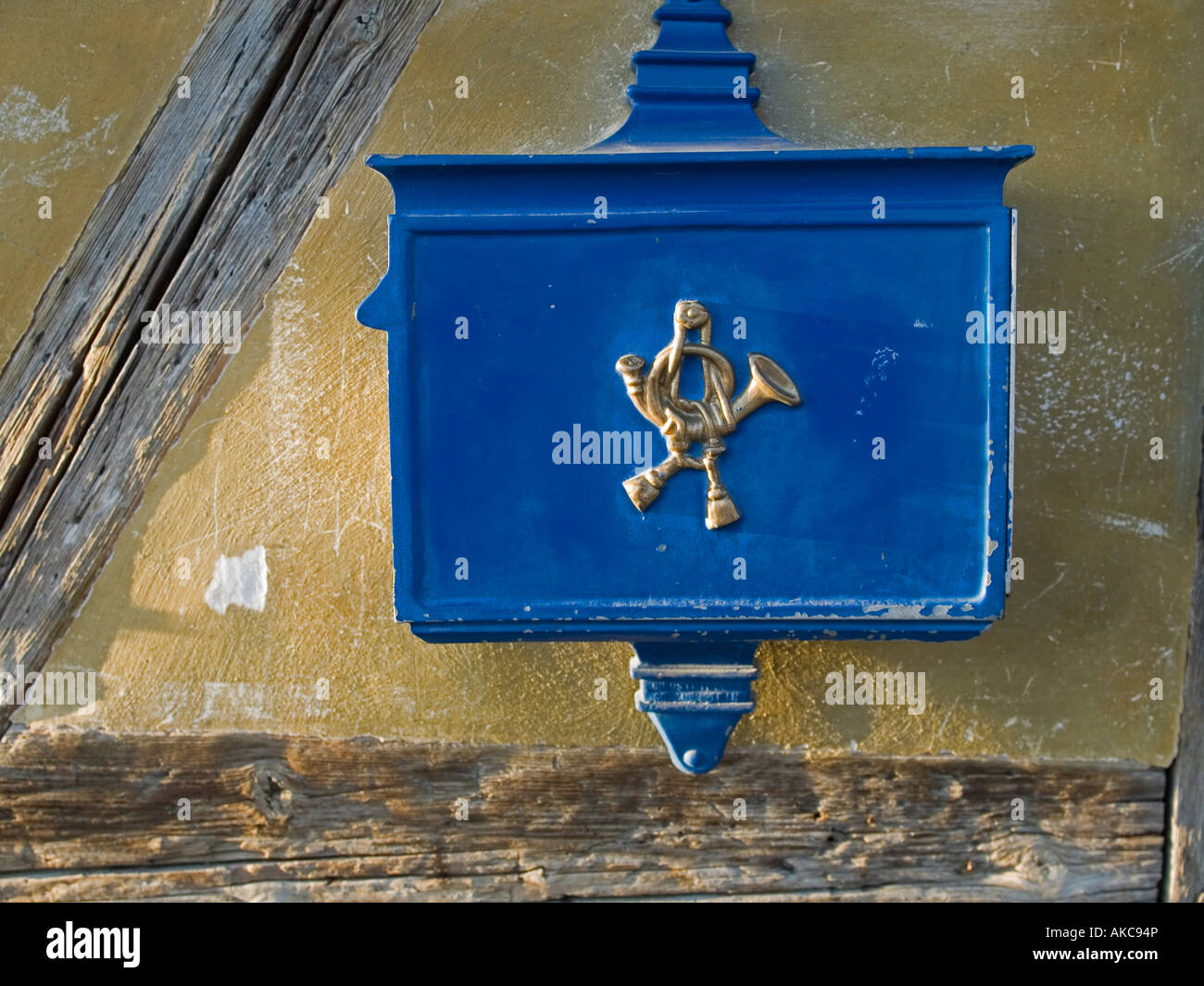 Old Historic Letter Box Mail Box With The Symbol Post Horn Stock