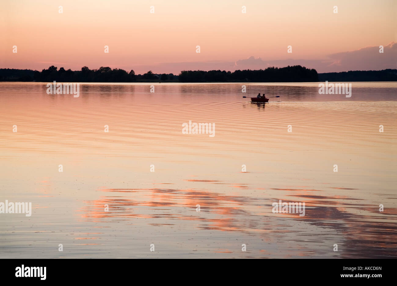 Rowing boat on Municky Rybnik lake Hluboka Czech republic - Stock Image