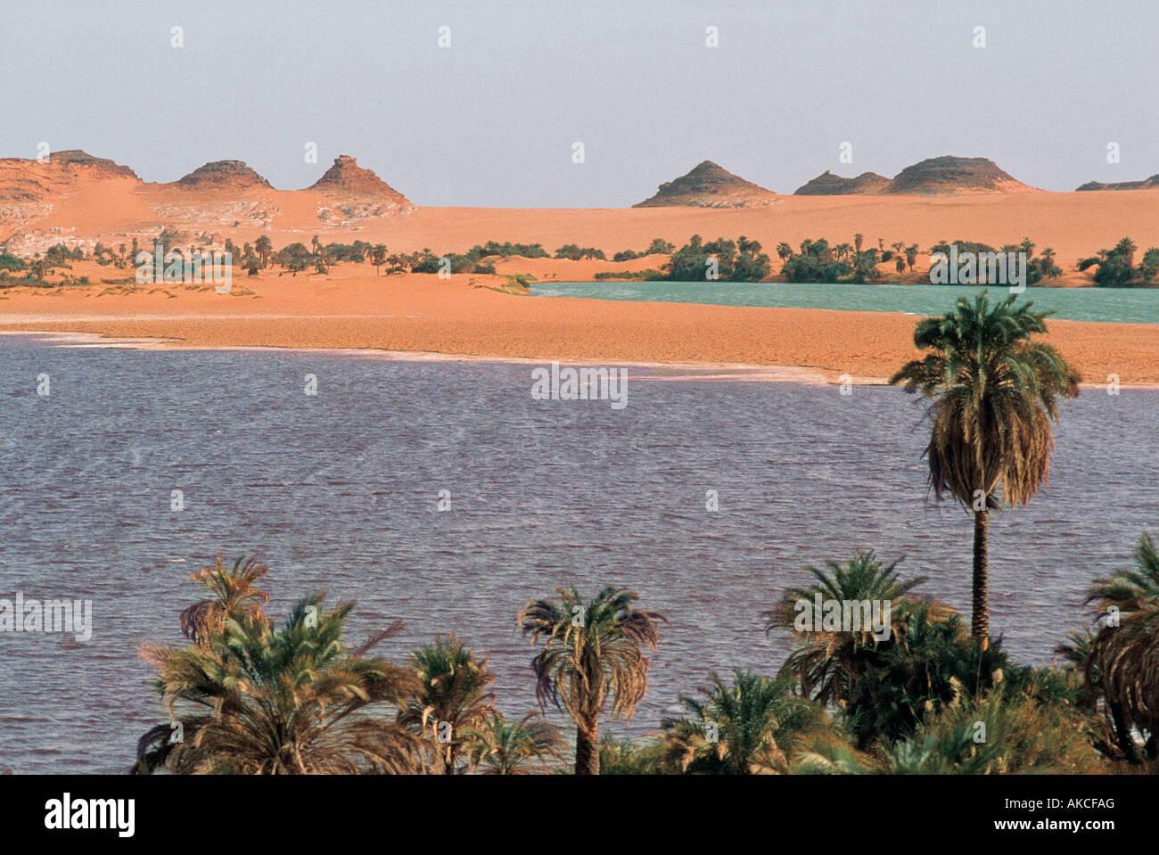 Lakes near Ounianga Kebir north eastern Chad Africa - Stock Image