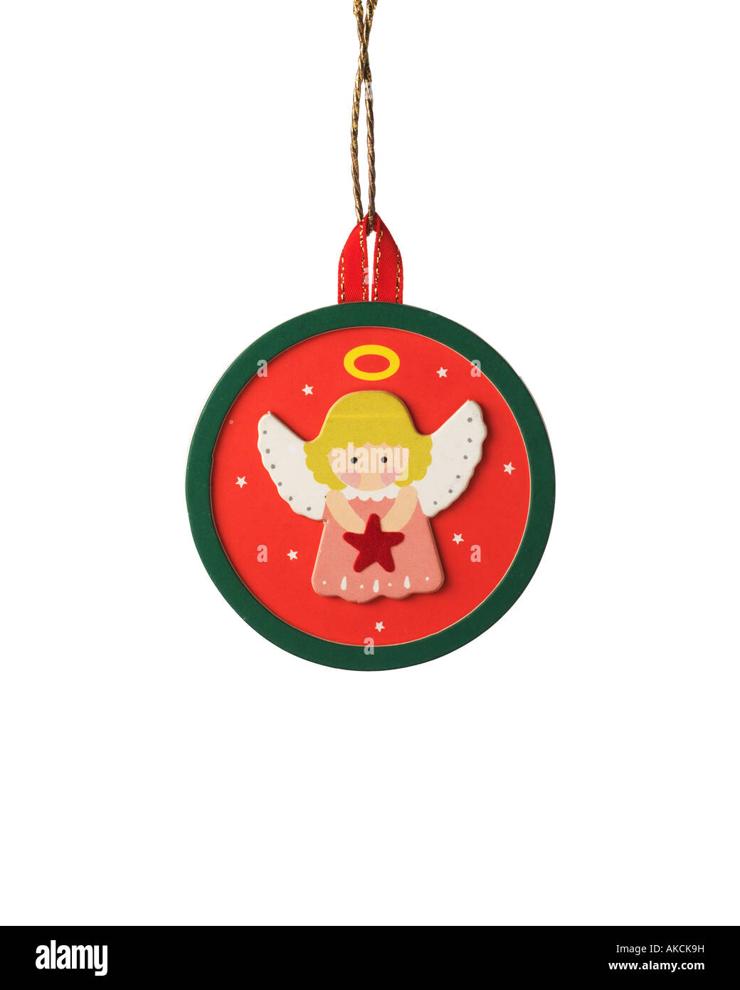 Vintage Christmas ornament decoration of handmade angel with halo scene hanging on hook - Stock Image
