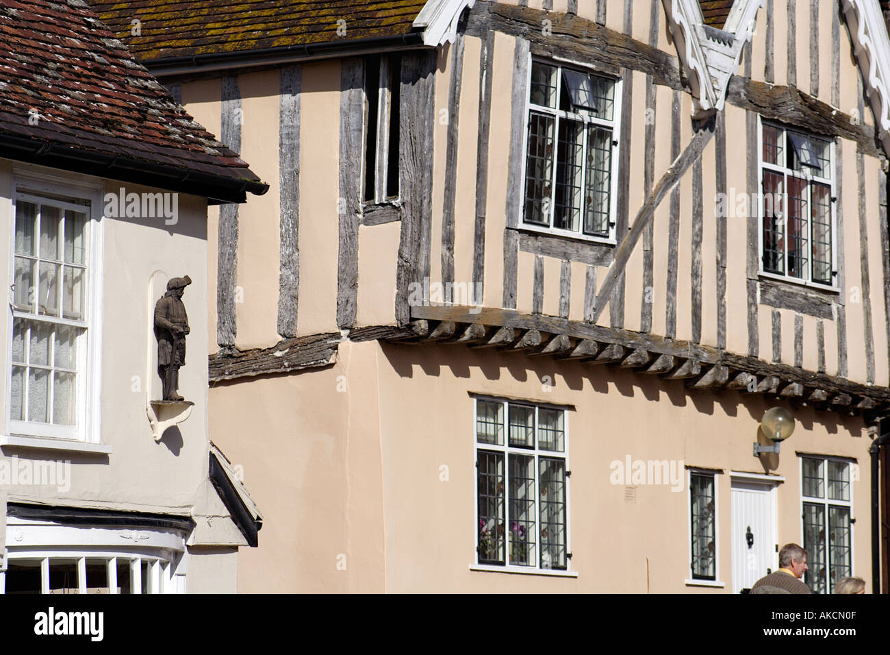 The picturesque and idyllic High Street Lavenham Suffolk East Anglia UK - Stock Image