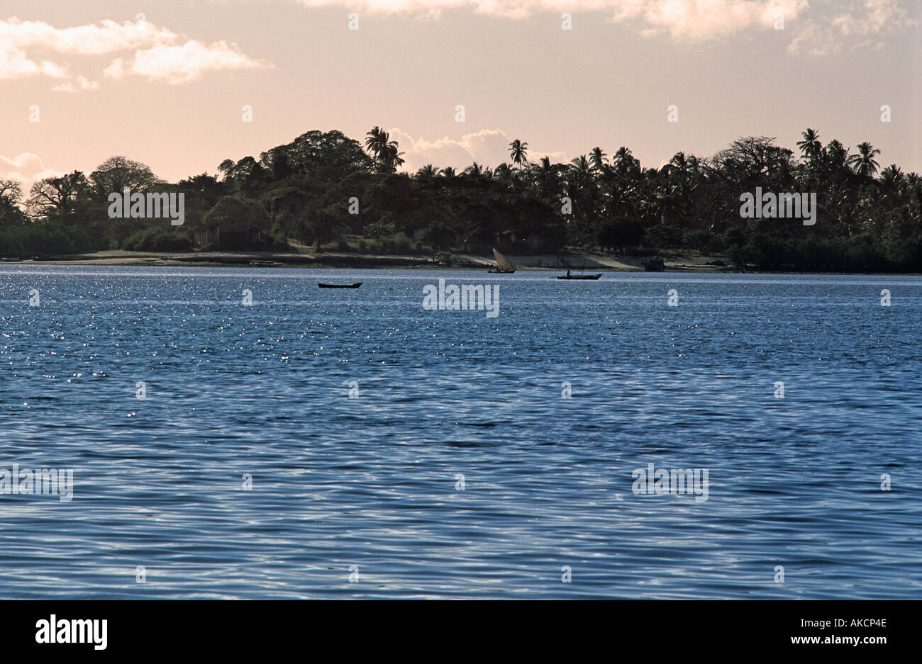 Local boats in the straits between Mafia island and Chole island s of Zanzibar Tanzania Viewed from Utende Mafia - Stock Image