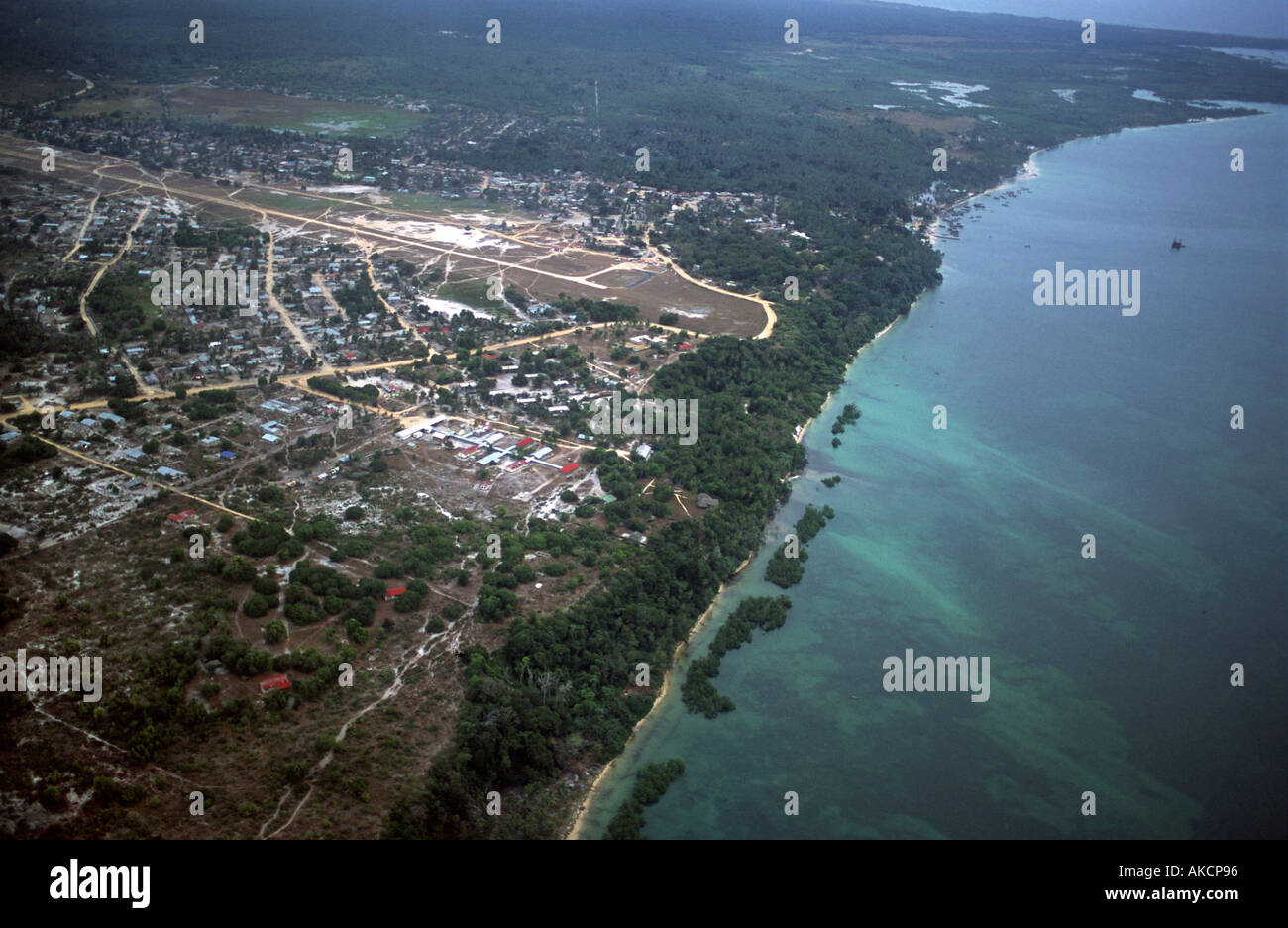 Aerial view of the coast of Mafia island Kilindoni capital of Mafia and her airstrip Indian Ocean Tanzania East Africa - Stock Image
