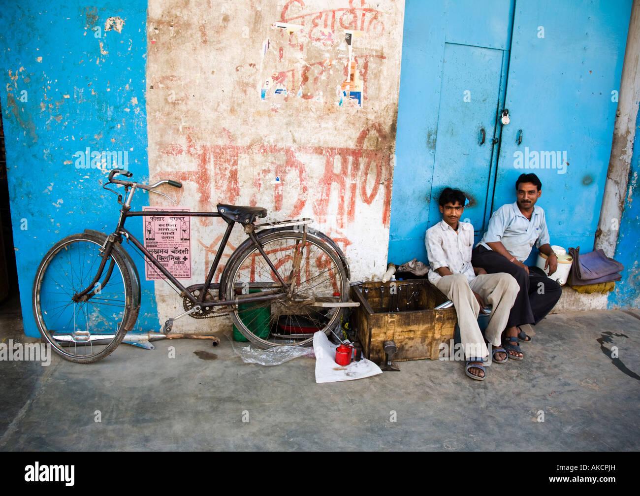 A road-side bicycle repair shop. Varanasi, India. Stock Photo