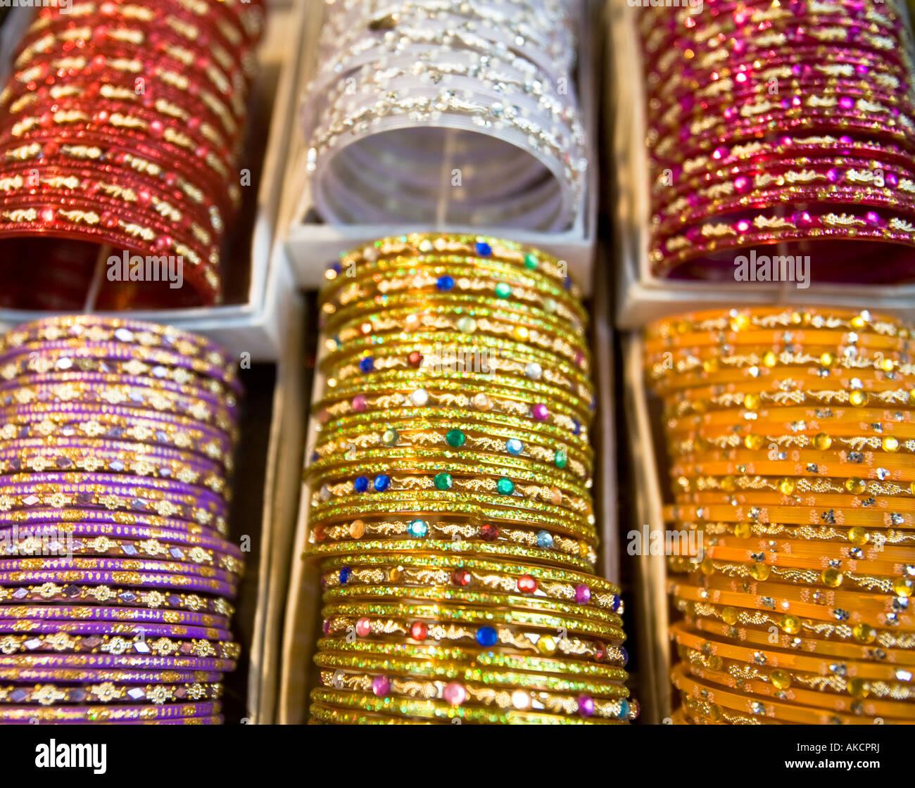 Indian bangles on sale in Chandni Chowk Market Delhi, India