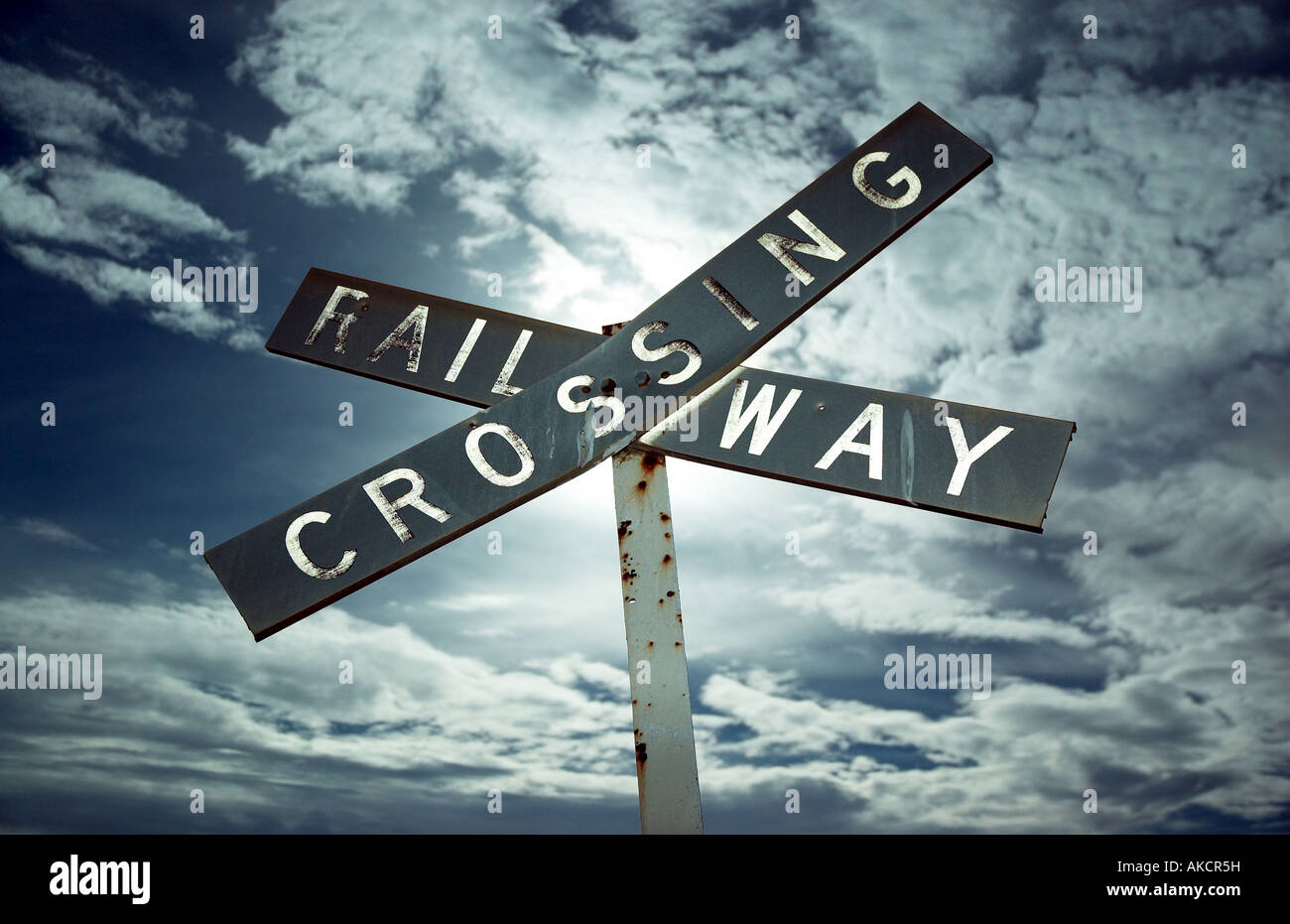 A dilapidated railway crossing sign, 150 km north of Adelaide, South Australia - Stock Image