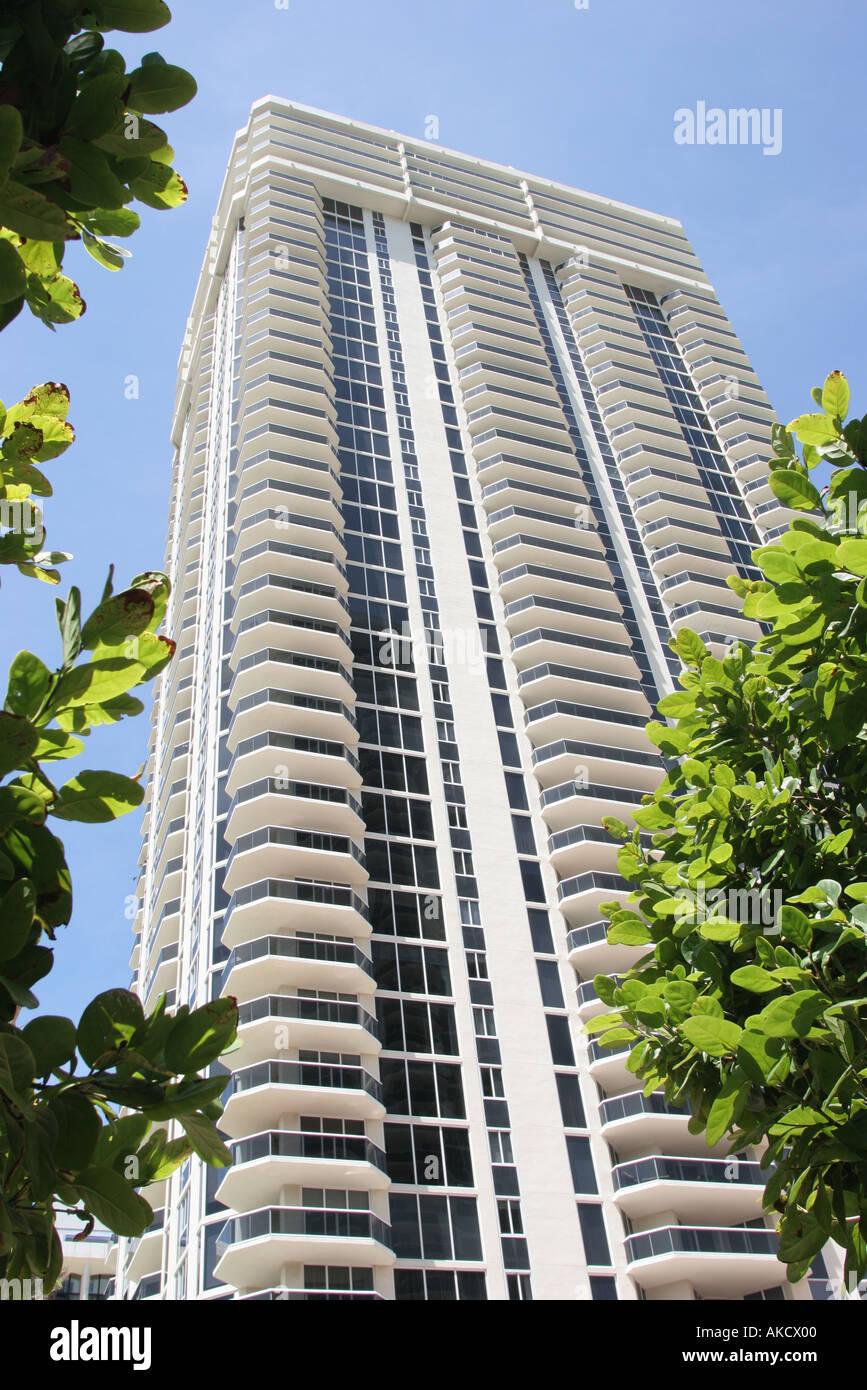 miami beach florida collins avenue blue and green diamond condominium building balconies stock image